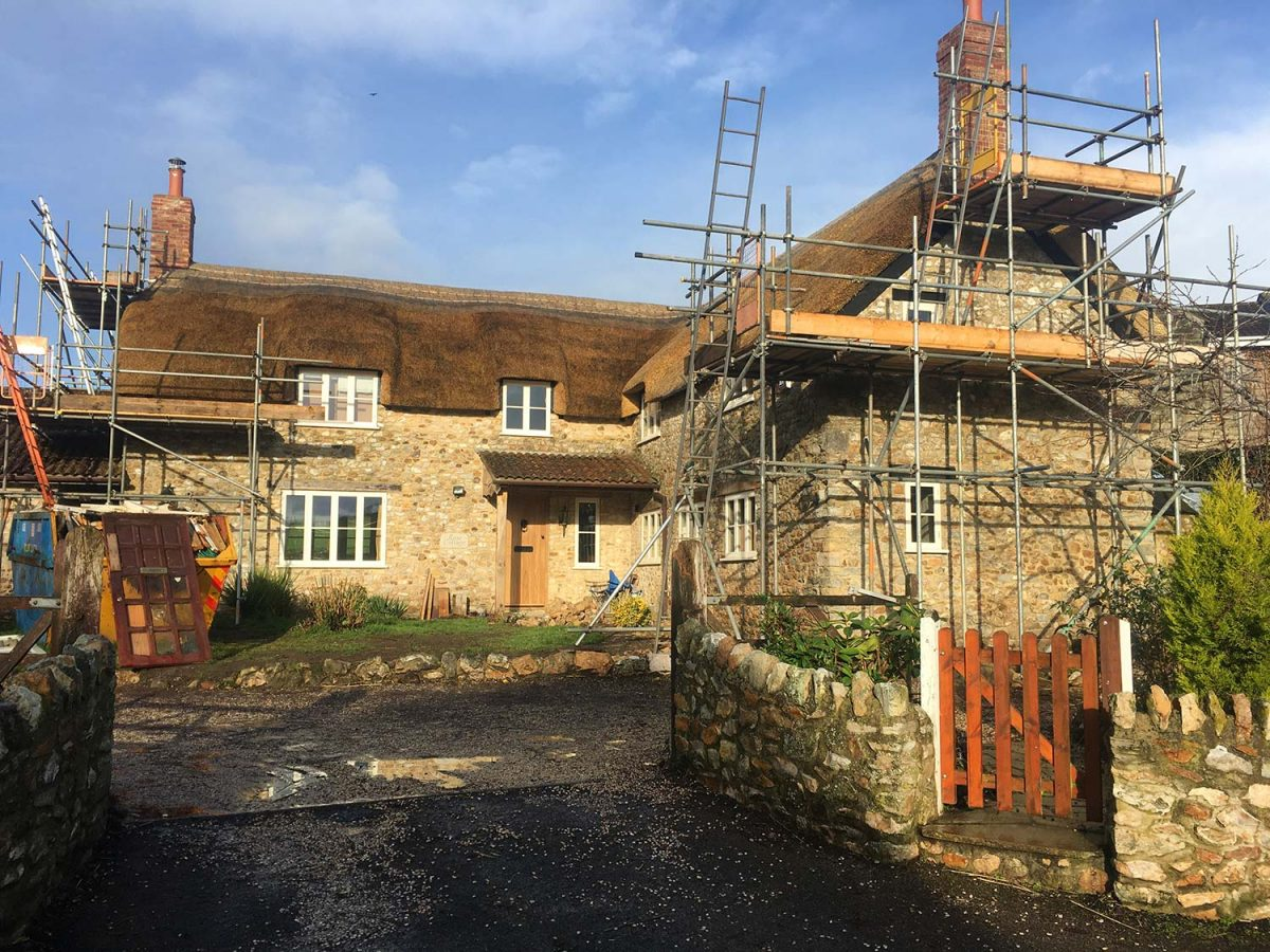 Scaffolding coming down at Rose Cottage, Wootton Fitzpaine