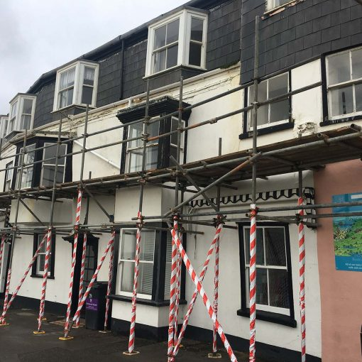 The Alcove, Marine Parade in Lyme Regis, under scaffold